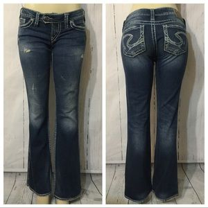 Silver Jeans Tuesday Distressed Boot Cut Sz 27X33